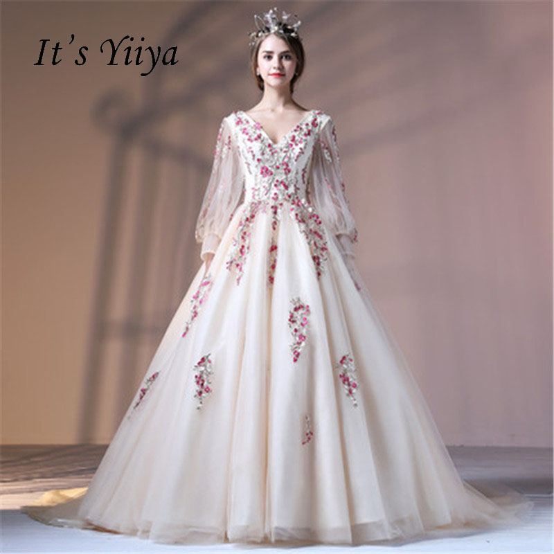 It's Yiiya V-neck Illusion Floral Tulle Flower Backless Lace Up Elegant   Evening     Dress   Floor Length Party Gown   Evening   Gown LX044