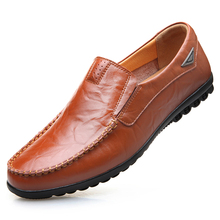 купить Summer Fashion Soft Genuine Leather Comfortable Men's Casual Shoes Breathable Light Flat Driving Loafers Shoes DA068 дешево