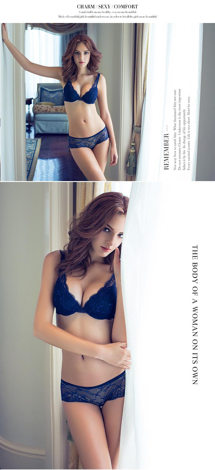 17 Women underwear bra suit Push Up Bra Set Sexy Deep v gather adjustment female lingerie Lace Bra and pants sets 75 B C Cup 2