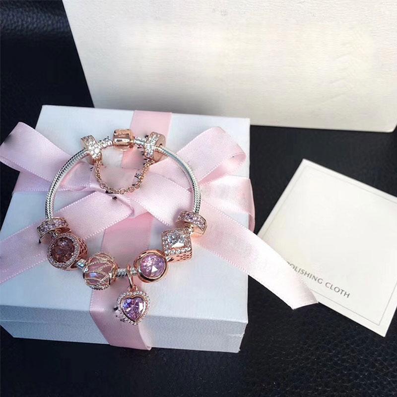 цена на Original 925 Silver Charm Series Bead Pink Rose Gold Lady Jewelry Gift Fashion Pandol 1:1 With Logo Original Bracelet