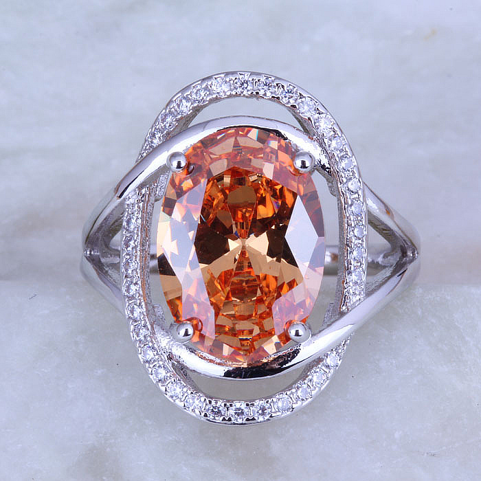 Älskar Monolog ny ankomst! Exquisite Oval Champagne Morganite Cubic Zirconia Silver Color Ring Free Gift Bag J0484