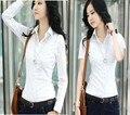 2017 Blusas Y Camisas de Mujer Camisas de Las Mujeres Regular Solid Casual Algodón Turn-down Collar Tops Mono Uniforme Silm Blusas