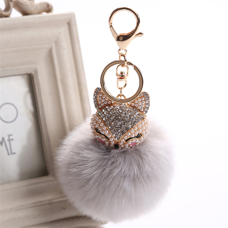 2017 New Artificial Rabbit Fur Ball Keychain Rhinestone Crystal Fox Head Pompon Trinket Key Chain Handbag Fluffy Key Ring Holder 15