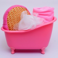 4 Items/set Small Pet Bathtub storage box+Bath luffah brush+bath Sponge+Towel bathroom accessories bath set J1