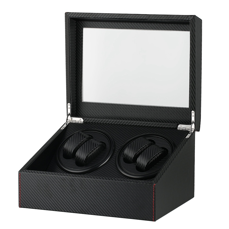 Durable Quiet Motors Watch Winder Automatic Mechanical Watch Winders Black 4+6 Collection Display Box Jewelry Storage Case | Watch Boxes