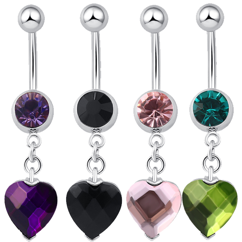 New Fashion Woman's Love Heart Belly Button Rings Bar Surgical Piercing Sexy Body Jewelry for Women Navel Piercing P0082