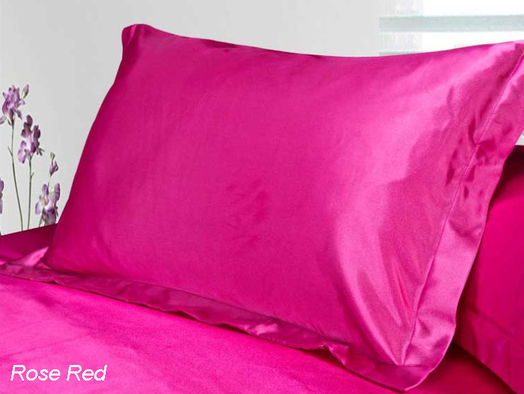 satin silk pillow cases colors pillow cover red green purple silver pink black 4874cm - Silk Pillow Case