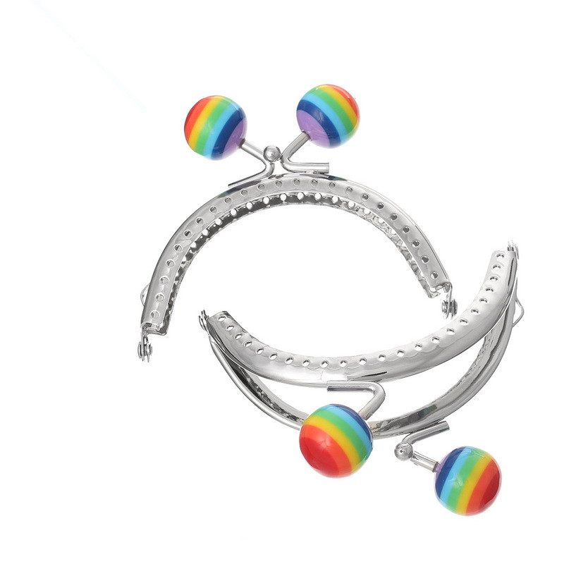 10Pcs Silver Tone Coin Purse Bag Arc Frame Kiss Clasps Clutch Handbag Handle Round Ball Rainbow Color 8.5x7cm
