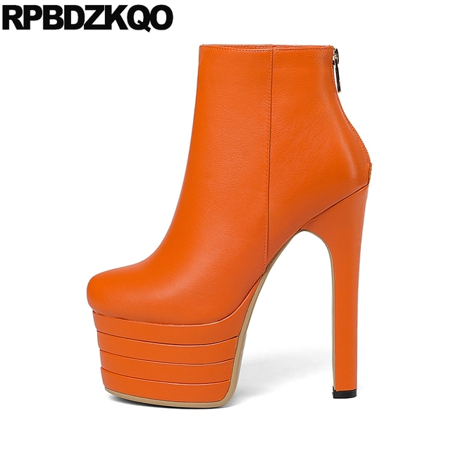 1d741976bf4 Platform Women Extreme Luxury Fetish Stiletto Shoes Round Toe Booties 15cm  Gothic Boots Punk Orange Sexy