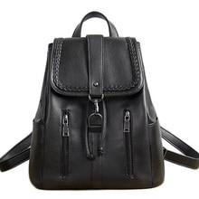 Новинка Для женщин Искусственная кожа Рюкзаки Мода 2017 г. школьная сумка для подростков Обувь для девочек известных брендов черный рюкзак BOLSOS