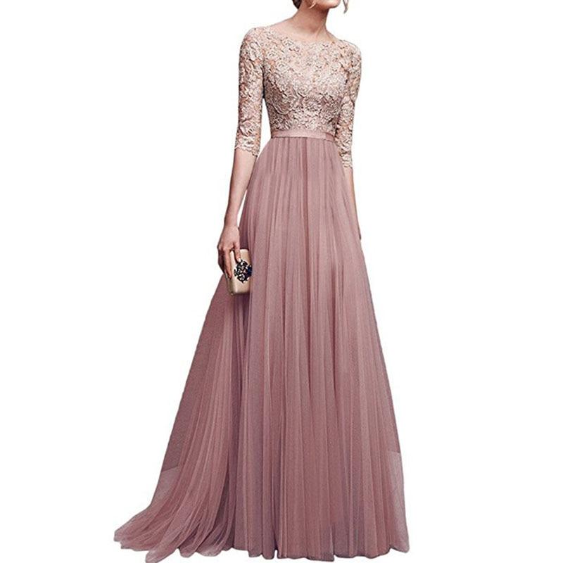 2018 Hot Long White Dress Summer Women Elegant Floral Lace Chiffon Dress Floor Length Pleated Women Half Sleeve Party Maxi Dress