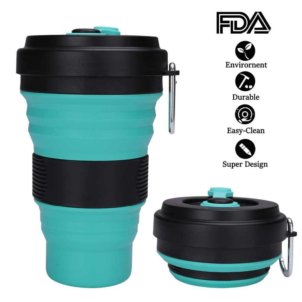 Taza plegable de viaje taza de silicona plegable con tapa para té de agua de café tu compañero portátil Ideal de Camping y Backpacking