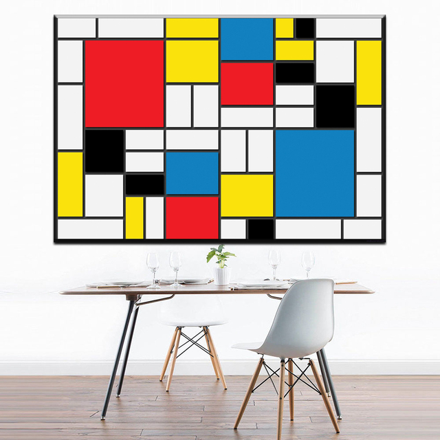 zz1078 modern abstract canvas art cuadro de piet mondrian oil art