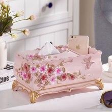 Креативная Европейская полимерная коробка для салфеток с цветами модная садовая бумага полотенце ящик для хранения пультов дистанционного управления пепельница украшение дома