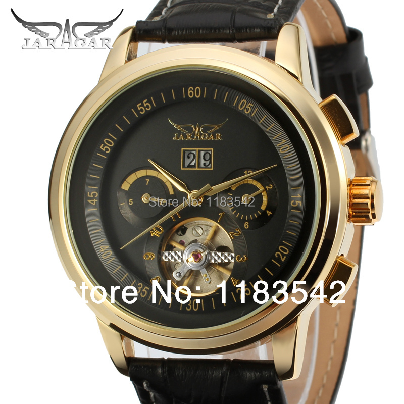 Jargar  Automatic gold color men wristwatch tourbillon black leather strap  new  free shipping JAG16557M3G1 jargar jag6581m3t1 new men automatic fashion watch black wristwatch for men with black leather strap best gift free ship