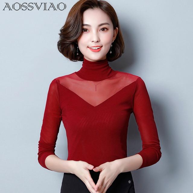 674c3e1c470 AOSSVIAO Blusas 2018 Autumn Winter Lace Blouse Fashion Crochet Lace Tops  Long Sleeve Shirt Women Blouses