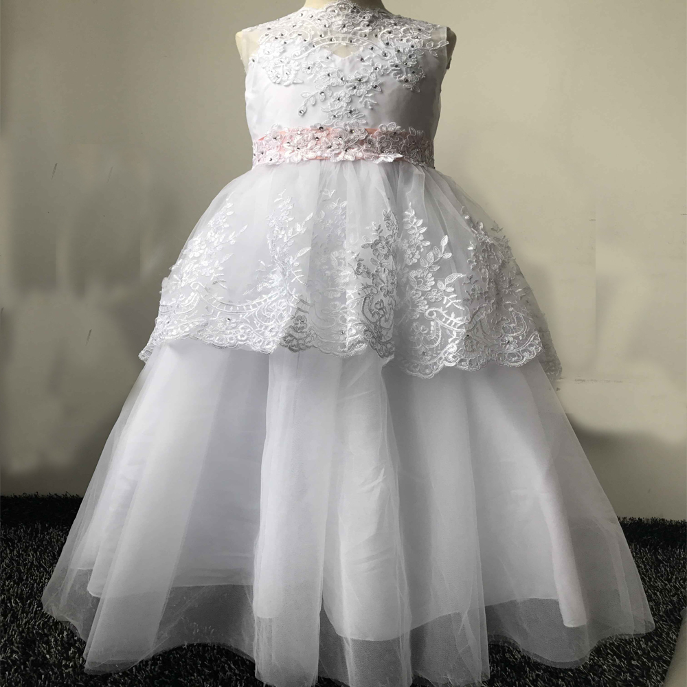 купить Lace Pageant Dresses for Girls Glitz With Sleeveless Flower Girl Dresses Ball Gown Tulle Mother Daughter Dresses For Girls Party дешево