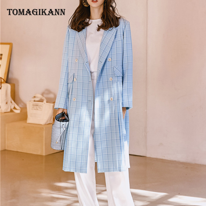 2019 Streetwear Blue Plaid Pleated Women   Trench   Casual Double Breasted Pockets Turn Down Collar Long Sleeve Blazer Outwear Tops