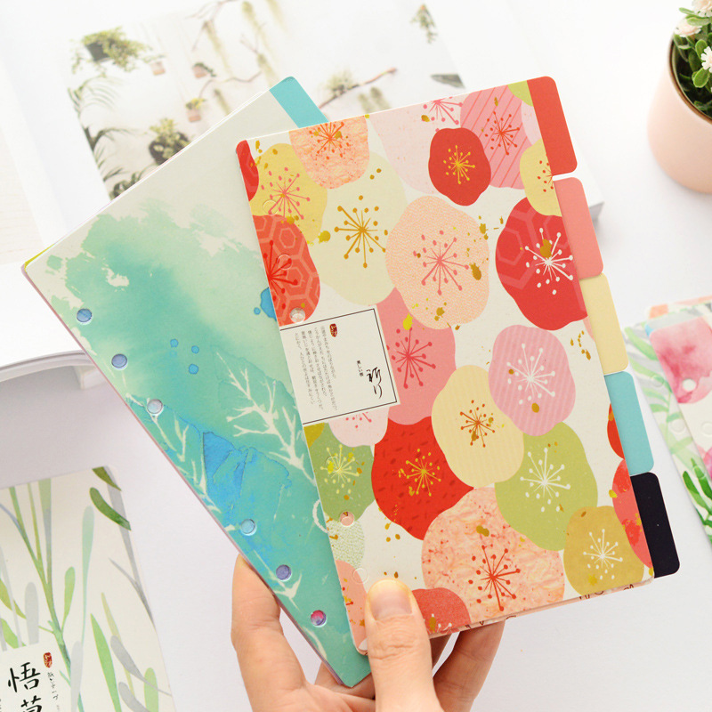 A5 A6 5sheet Flower Colored Delicate Art Paper Planner Index Page Beautiful Retro Planner Inner Slip Sheet Binder Category Paper Pakistan