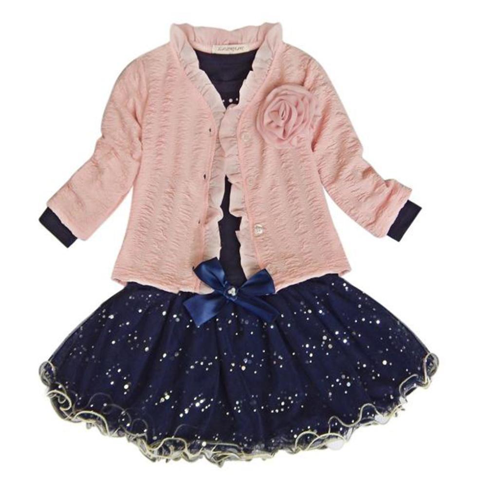3 Pieces Baby Girls Princess Coat T-shirt Tutu Skirt Party Set Suit Pink Clothes Sets X5 two pieces kid girl set tutu summer flower cotton t shirt tutu skirt sets children outfits dance party prom clothing