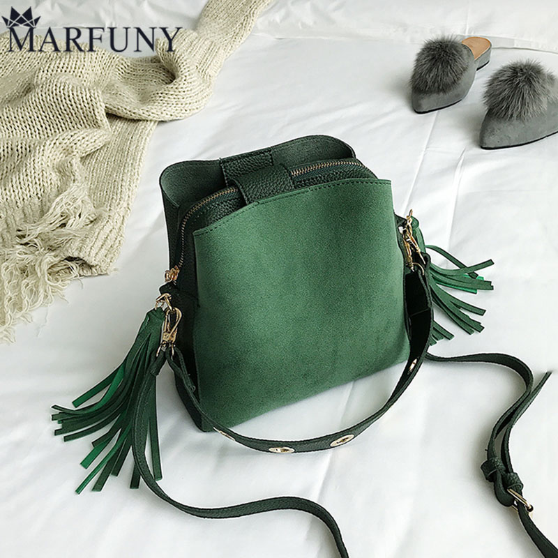 MARFUNY Brand Tassel Shoulder Bag Female Vintage Crossbody Bags For Women 2018 Bucket Bag Handbags Designer Scrub Daily Sac vvmi 2016 new women handbag brand design rivet suede tassel bag chic classic vintage saddle bag single shoulder bag for female