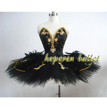 New Arrival Black Swan Feather Ballet Dress For Competition,Professional Hard Organza Pancake Ballet Rehearsal Tutu HB227