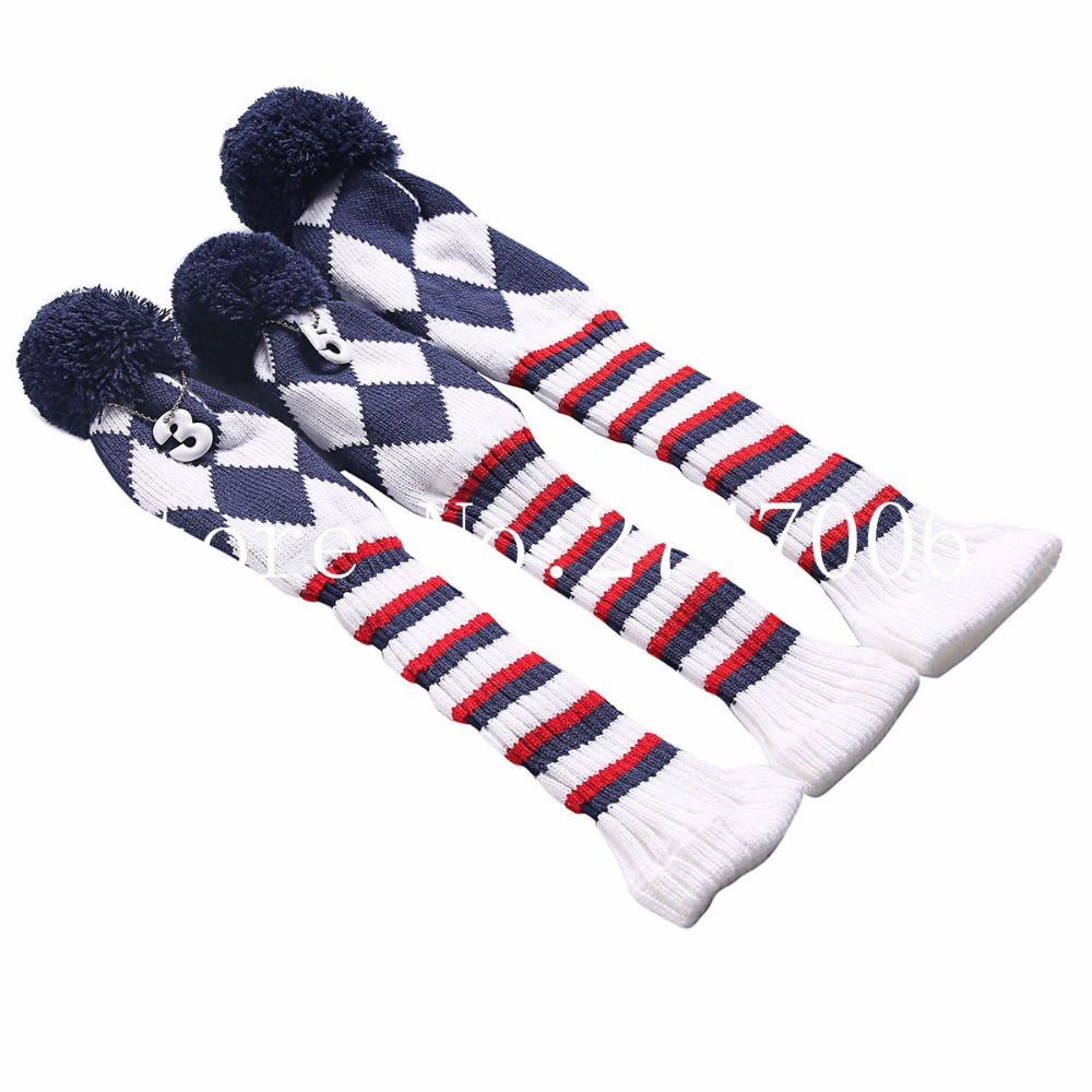 Golf 3pcs/set Knitted Pom Pom Sock Covers 1 3 5 Golf Wood Headcover ...