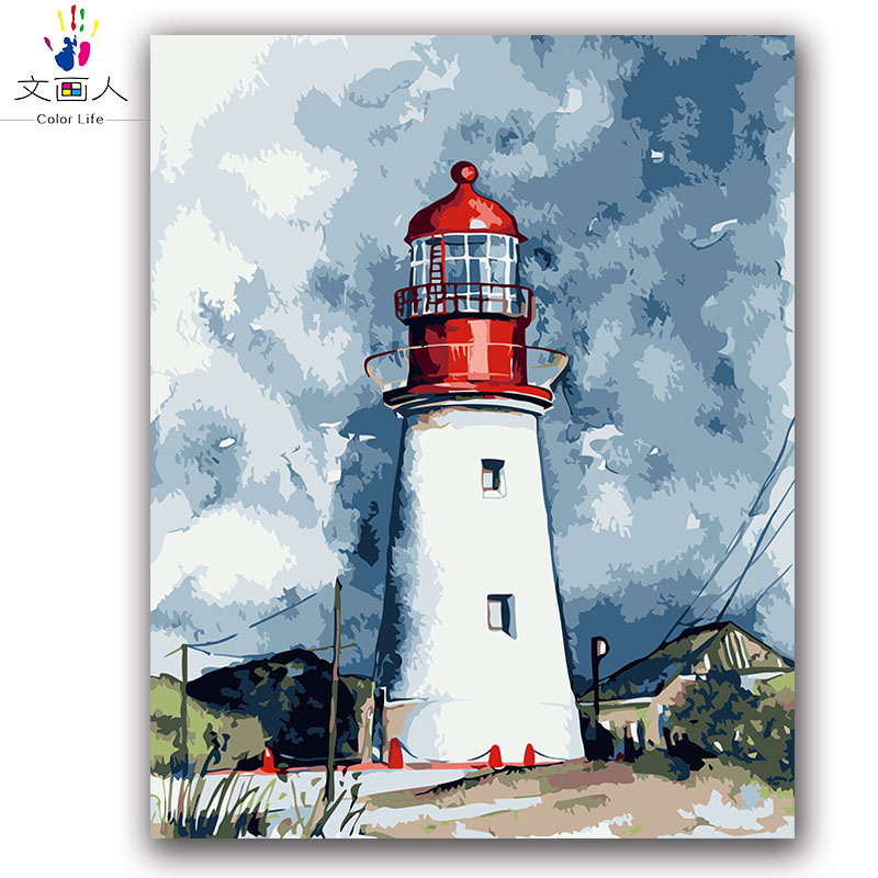 Lighthouse Defend Picture Painting By Numbers Seascape Landscape building with kits package On Canvas coloring paint by numbersLighthouse Defend Picture Painting By Numbers Seascape Landscape building with kits package On Canvas coloring paint by numbers