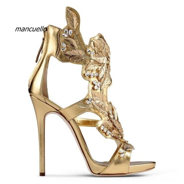 Npyw7s Oro Nuevo Diseño Sandalias Decorado De Color Pu Negro Hojas Chic 54ALq3Rj