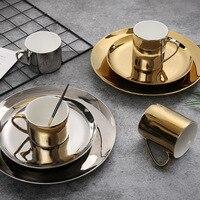 Ceramic Breakfast Plate Coffee Mug Nordic Golden Dinnerware Set Pastry Dish Dessert Tray Luxury Water Mug Tea Cup Saucer 1pcs