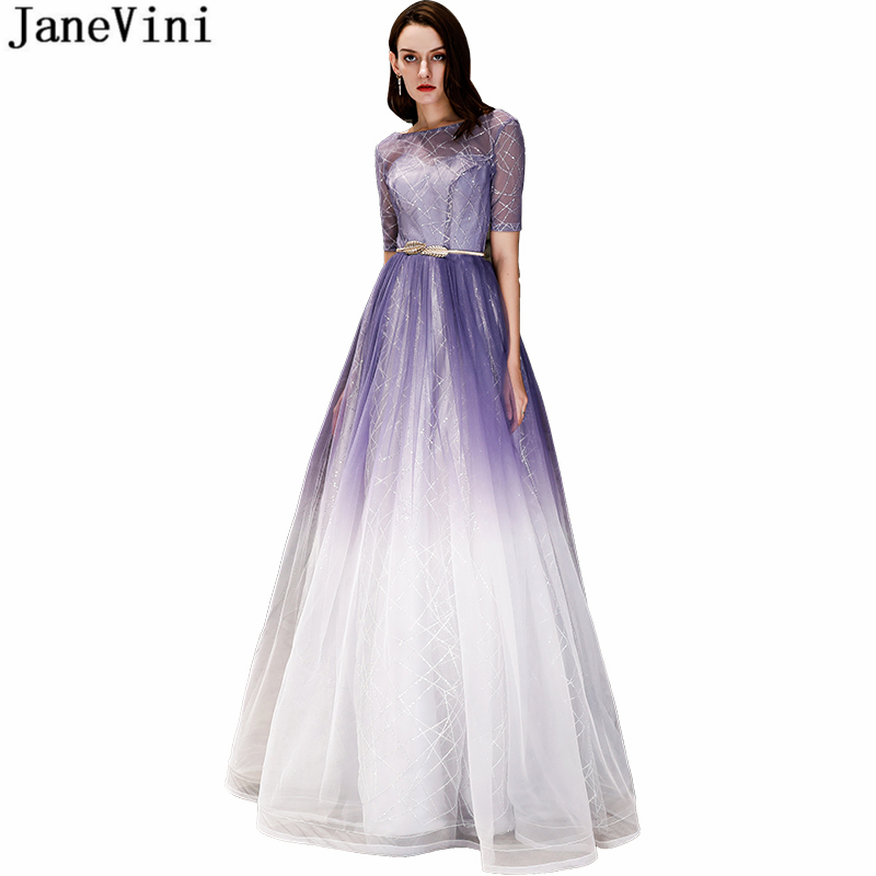 JaneVini 2019 Sparkle Gradient Purple Tulle   Bridesmaid     Dresses   Scoop Neck Sequins Backless A Line Charming Long Prom Party Gowns