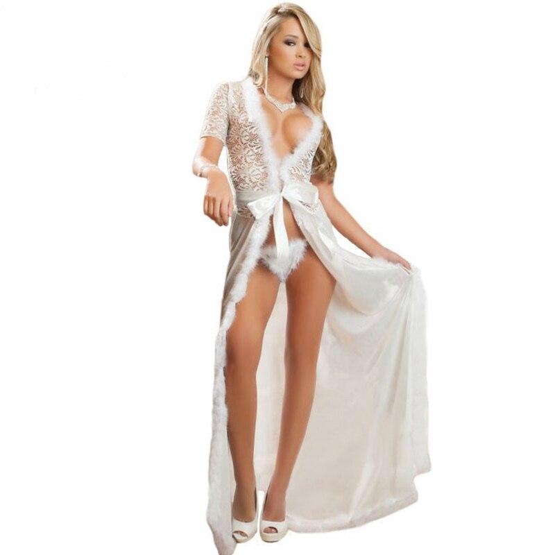 a0bd617f831 Summer style new costumes erotic lingerie plus size ladies sexy sleepwear  white black fur trim