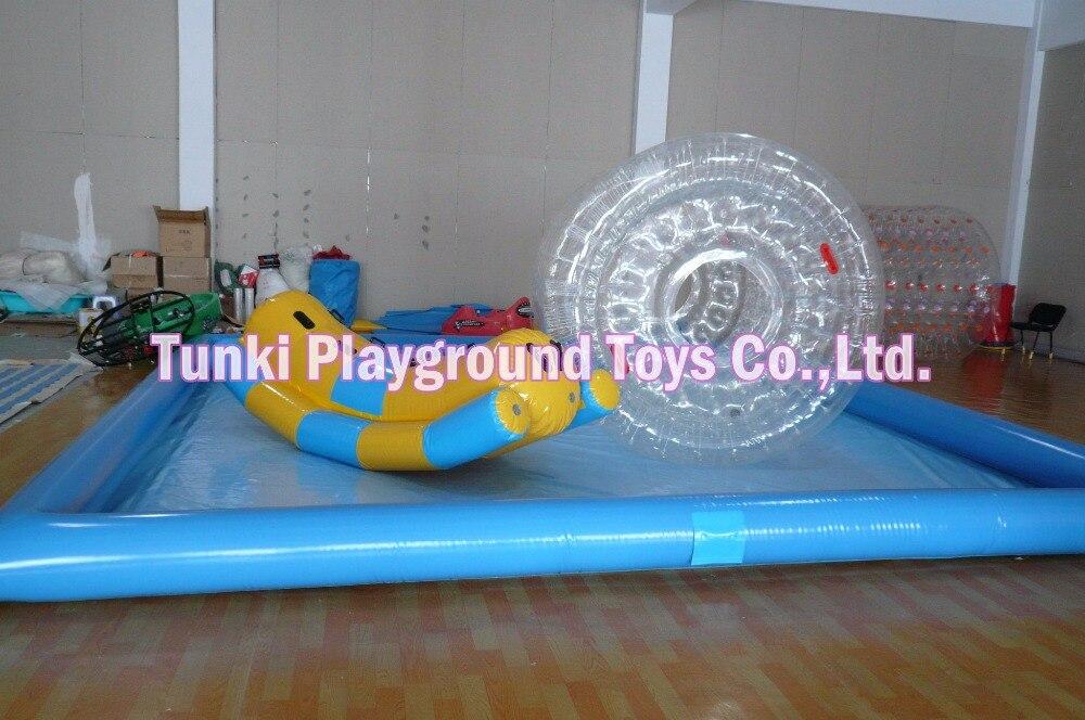 Piscine gonflable d'aqua de bâche de PVC de 6*8*0.5 m pour la boule d'eau et le bateau