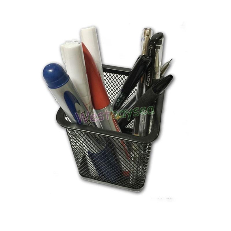 Pen Case Mesh Brush Pot Scissor Ruler Pencil Box Organizer Office Stationery
