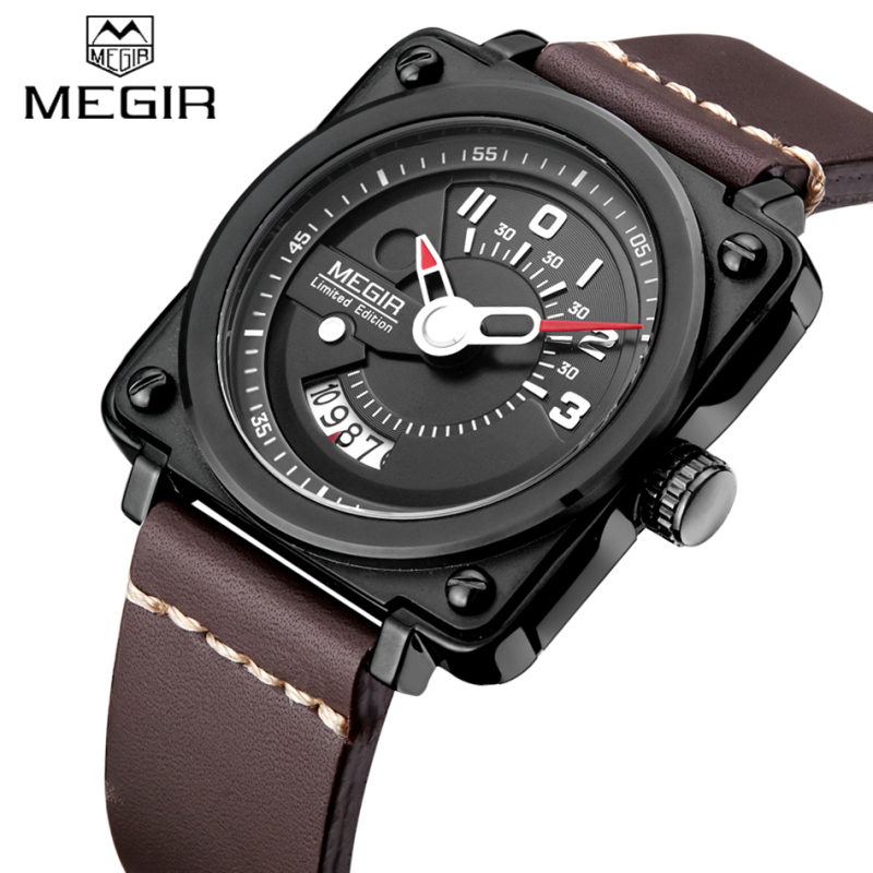 Top Design Luxury Brand MEGIR Watches men Sport Quartz-watch Casual Leather Men's Water-resistant Wrist watch Military Clock man xinge top brand luxury leather strap military watches male sport clock business 2017 quartz men fashion wrist watches xg1080