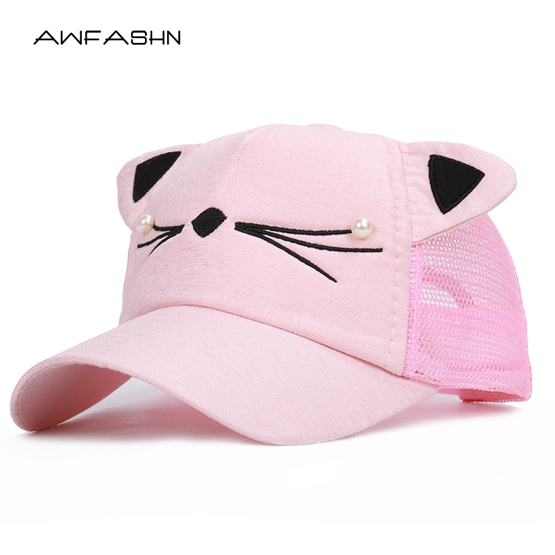 Cat Ears Baseball Cap Hat Unisex Men Women Caps Snapback Bonnet Kids Cute Solid White Hats