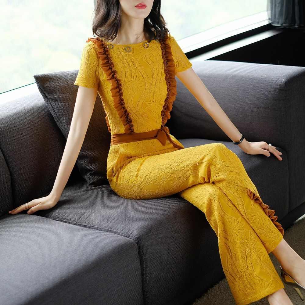 2019 新ファッションツーピースセット夏黄色レーストップとフレア長ズボン春服オフィス女性のスーツ YQ195