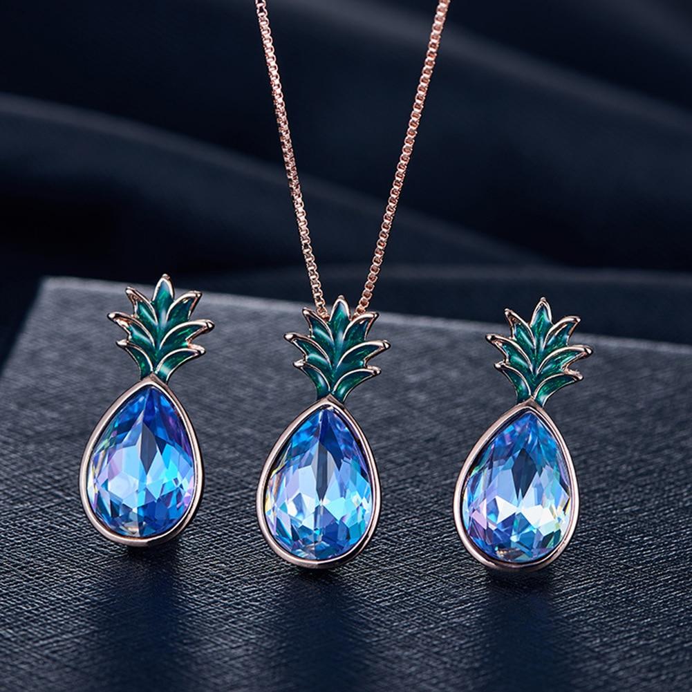cheap wholesale online Pineapple Shape Women's Rhinestone Pendant black pearl necklace set Ear Stud Earrings Necklace Jewelry Set clothing store sales near me Jewelry Sets vn21951150