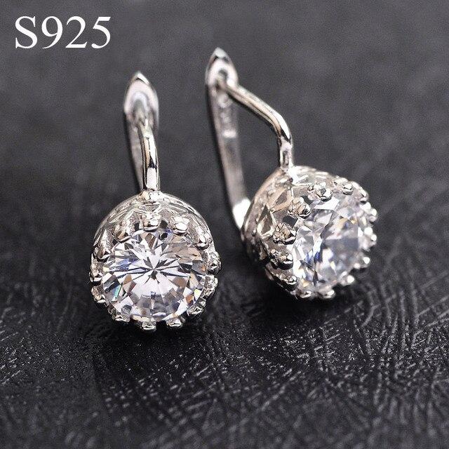 Luxury CZ Diamond Crown earrings for women 925 Sterling Silver Jewelry wedding hoop earrings of Austria Crystals brincos Bijoux