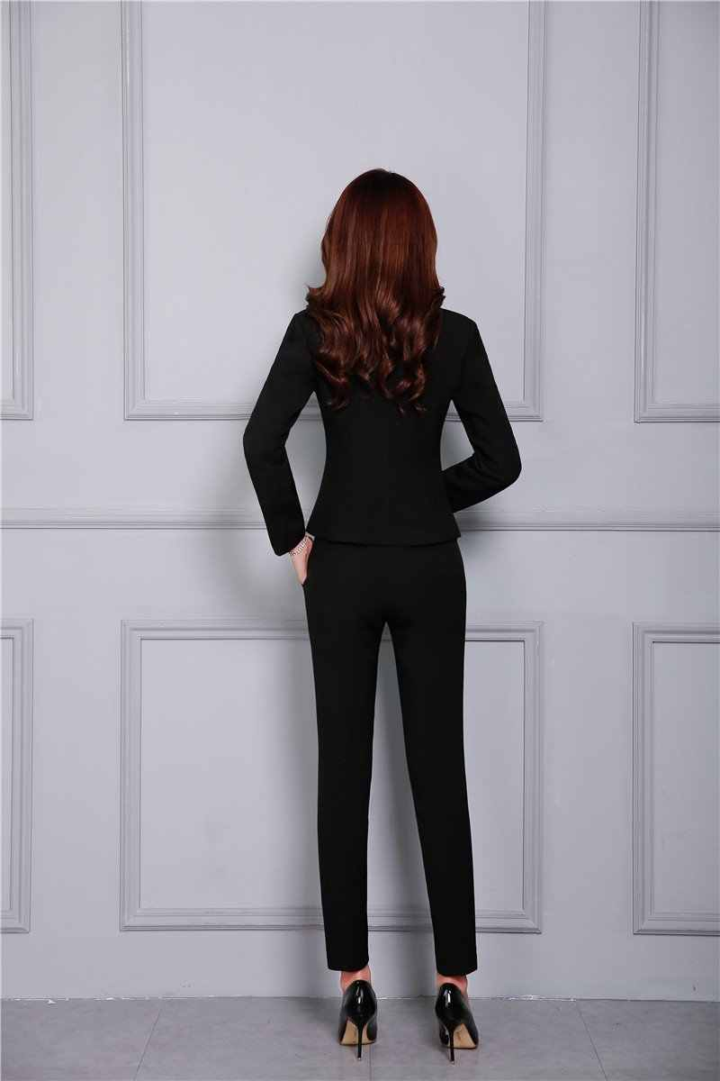675edcaa78a ... New 2018 Fall Fashion Casual Black Blazer Women Business Suits with  Pant and Jacket Set Elegant ...