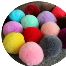 DIY 6cm Genuine Rex Rabbit Fur Pom Ball for Women Earrings Shoes Handbag Key chain Phone Accessories 50pcs/lot Wholesale