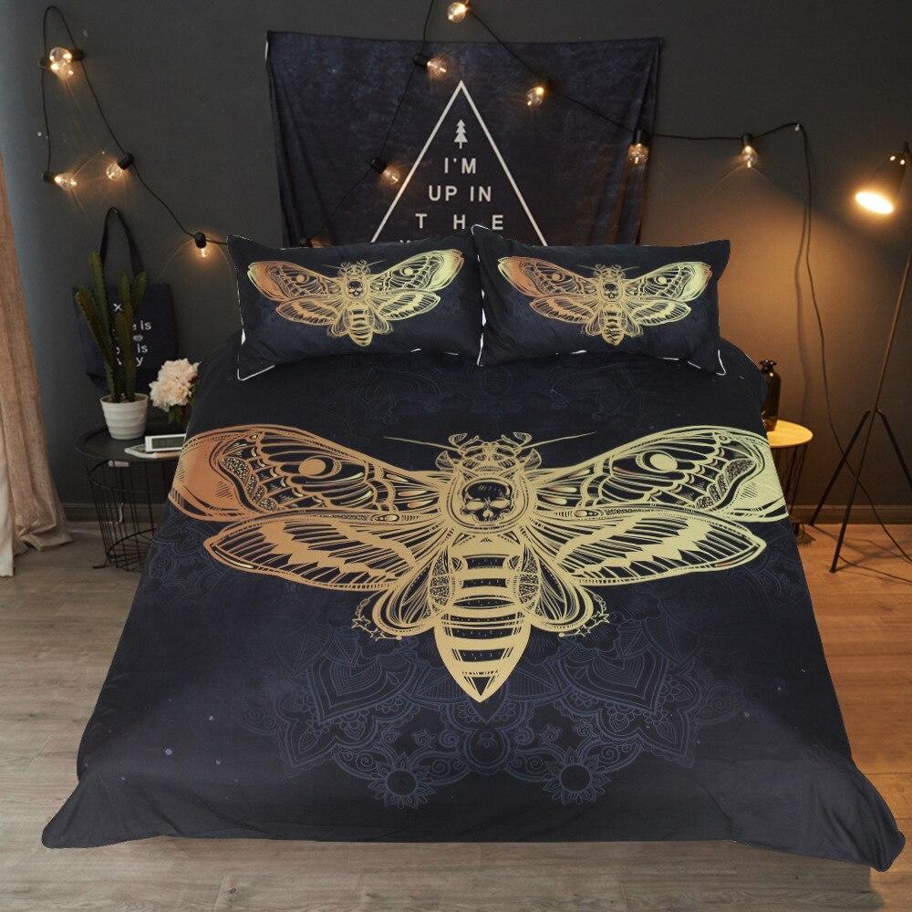 Américain style Housse de Couette argent explosif bronzage papillon crâne lit produits Famille étudiant dortoir Couette taie d'oreiller
