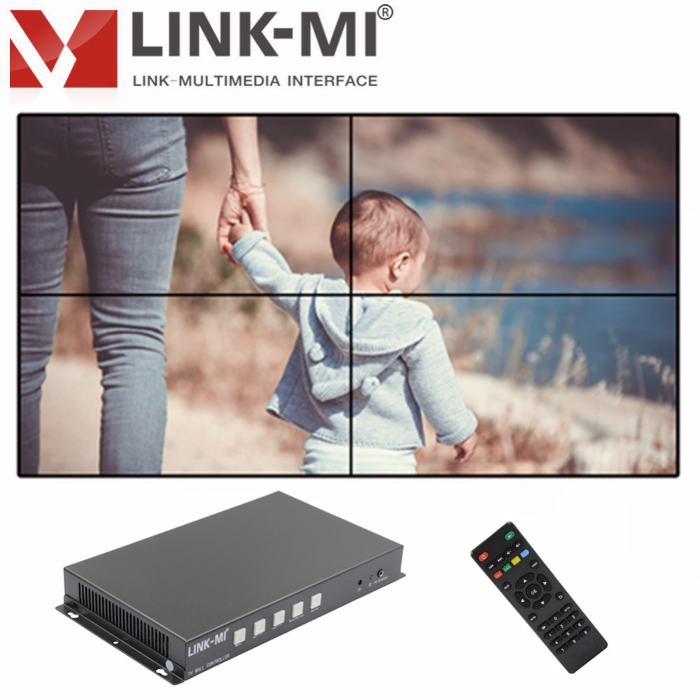 LINK-MI TV04S 2x2 Video Wall Controller USB/HDMI processor 4TV shows a screen splicing For LED/LCD Display Edge shielding фотоаппарат fujifilm x t1 body graphite silver edition