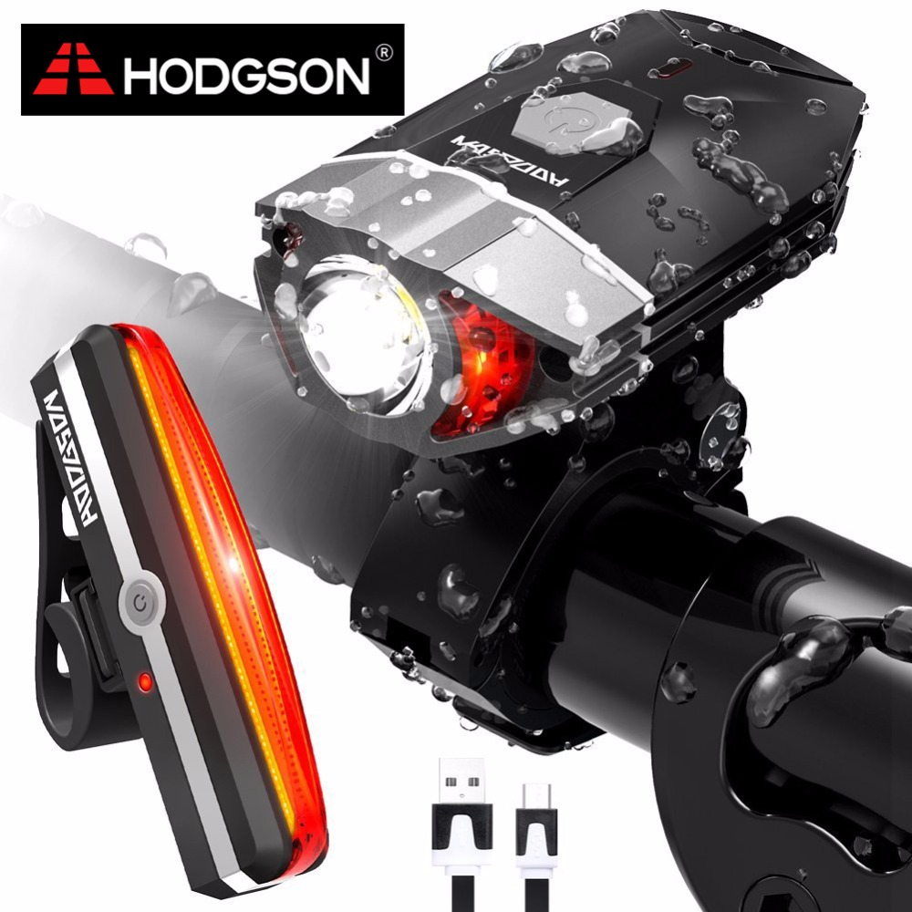 HODGSON USB Rechargeable LED Bike Light Waterproof Front Light <font><b>Tail</b></font> Light Set Bicycle Headlight Taillight Rear Lamp Set 8102