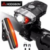 HODGSON USB Rechargeable LED Bike Light Waterproof Front Light Tail Light Set Bicycle Headlight Taillight Rear