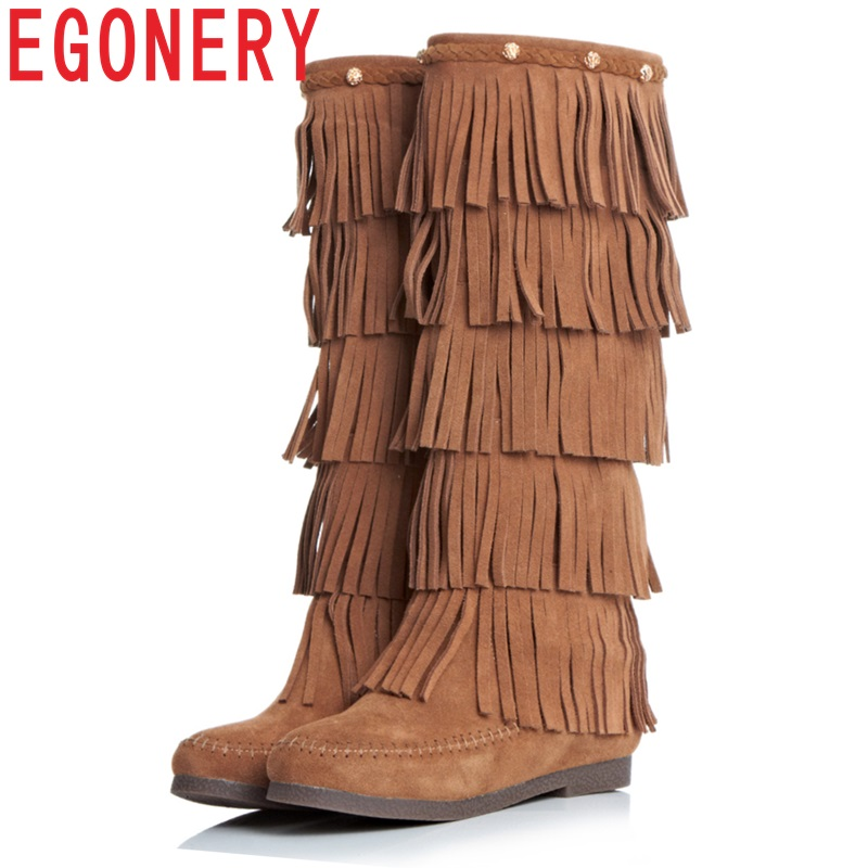EGONERY shoes 2018 women knee high boots side zipper tassel fashion riding boots classic round toe low heels short plush egonery ankle boots 2017 height increasing star metal decoration women side zipper round toe fashion breathable winter shoes