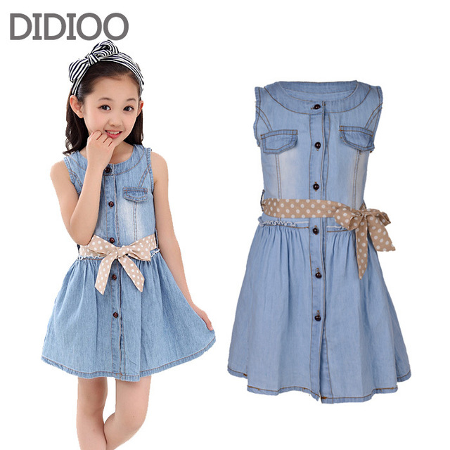 2b8b684b0524 Teenage Girls Dresses Summer Style Sleeveless Denim Dress for Girls  Clothing Teens Sundress kids clothes 2 4 6 8 10 12 14 15 Y
