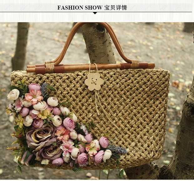 Caker 2017 Summer Women Straw Beach Bags Flower Lady Totes Bags Flower Bucket Handbags High Quality Fashion Jumbo Bag handmade flower appliques straw woven bulk bags trendy summer styles beach travel tote bags women beatiful handbags