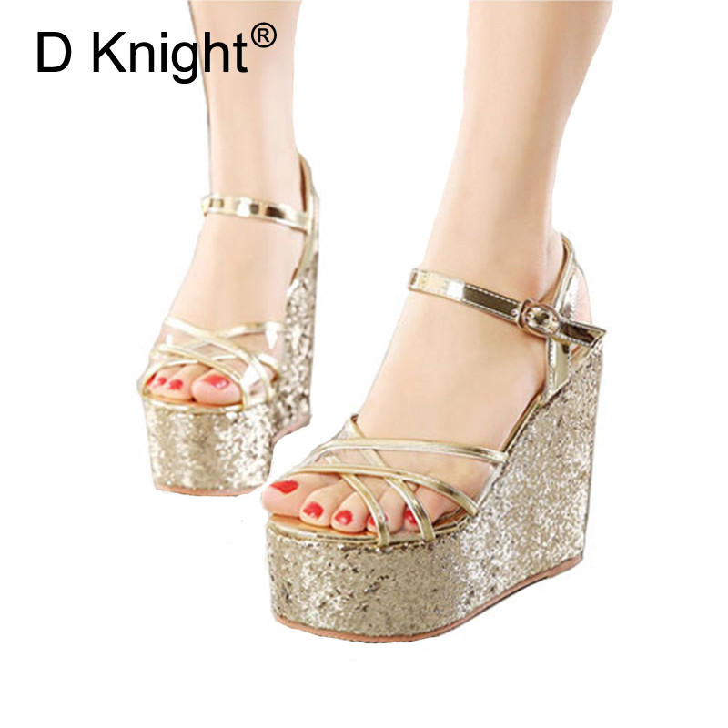 Summer Women High Heels Wedges Sandals Bling Gladiator Platform Espadrilles Shoes Lady Sexy Ankle Strap Pumps