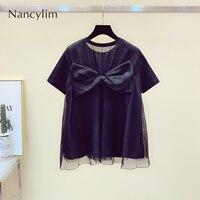 2019 Summer New Women's Fashion Short Sleeve T shirt Back Splice Mesh Bow Shirt Nancylim Tops White / Black Tshirt Student Tees